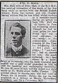 Pte Peter Hall Known to be buried Bernafay Wood Cem